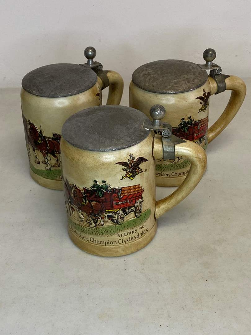 Lot # 6 - VINTAGE BUDWEISER STEINS (main image)