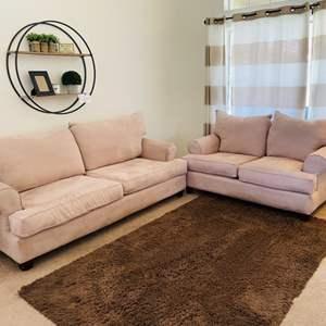 Lot # 5- Microfiber, taupe sofa, loveseat + rug