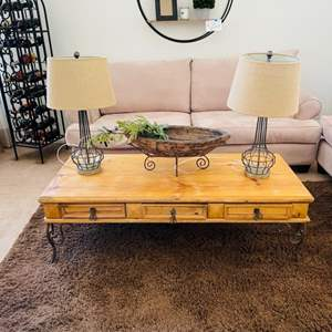 Lot # 6- Spanish style accent table and more!