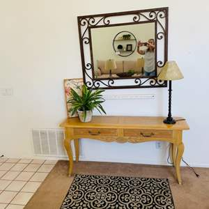 Lot # 8- Home decor- Wrought iron mirror, entry table + more!