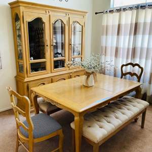 Lot # 11- Farmhouse table with elegant benches + more!