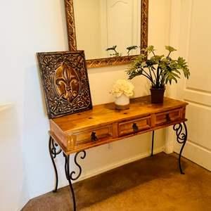 Lot # 19-Spanish style accent table/ sofa table + cute decor!
