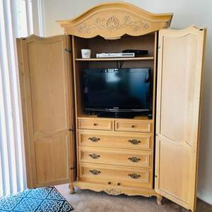 Lot # 23- Beautiful, French armoire with T.V. and DVD player
