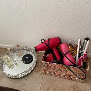 Lot # 34- Elegant perfume tray, hairstyling accessories + more