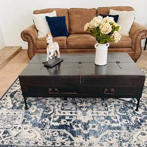 Lot # 38- Rustic coffee table with storage space + more!