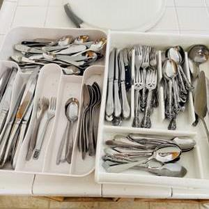 Lot # 52- Two full trays of flatware + extras!
