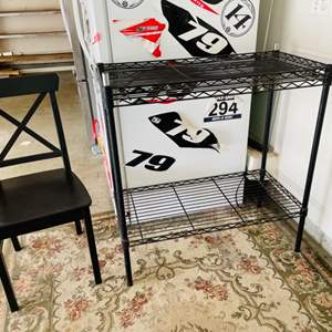 Lot # 128- Metro wire rack + chair