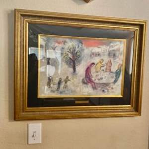 """Lot#6- Lithograph Print of """"The Meal at Drya's House"""" by Marc Chagall"""