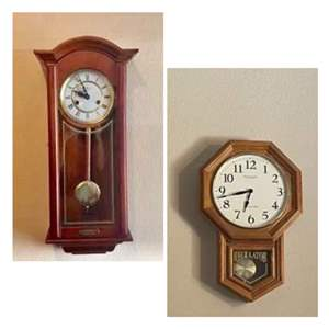 Lot#7- Two Wall Clocks: Classy Dinger Wall Click + Sterling and Noble Wood Clock