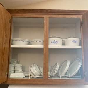 Lot#16- Corelle and Pyrex Snowflake Blue Kitchen Set