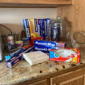 Lot#26- Glass Canister, Unopened Kitchen Supplies + More