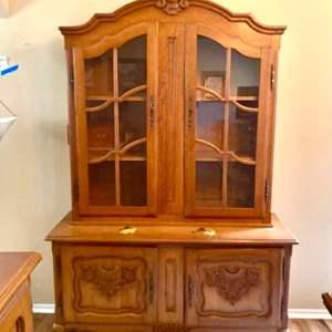 Lot#34- Beautiful, Vintage, Solid Wood Hutch