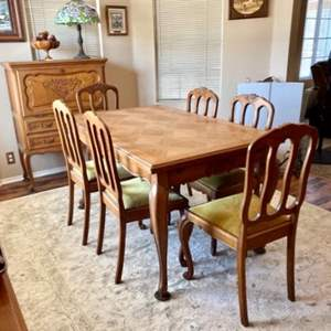 Lot#37- Beautiful, Antique Table + 6 Chairs