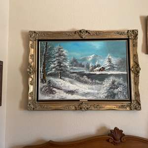 """Lot#47- """"Snowy Cabin"""" Oil on Canvas by Cooper"""