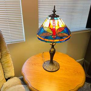 Lot#56- Round end table with beautiful lamp.