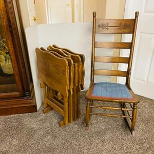 Lot#60- Antique Rocker Chair With T.V. Trays