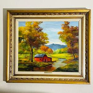 """Lot#64- Original Oil Painting by Anny M.K. Bailey titled """"Red Cabin"""""""