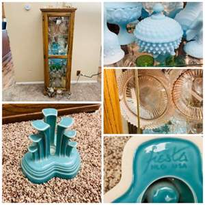 Lot#66- Full Curio Cabinet! Fiesta pottery, depression glass, blue milk glass, decanters, steins, vases, and more