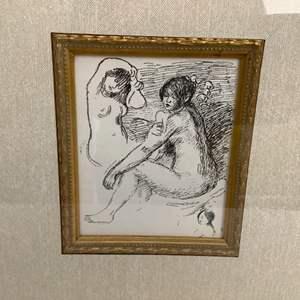 Lot#124-Beautiful 2 Ladies Framed Fine Art Print By Pierre Augusto Renoir