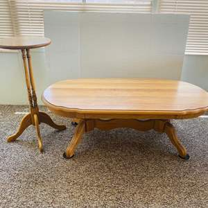 Lot#151- Vintage Oak Coffee Table with Wooden Pedestal Table