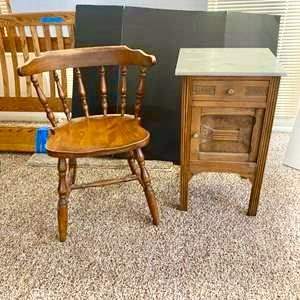 Lot#163- Vintage Side Table with Vintage Chair