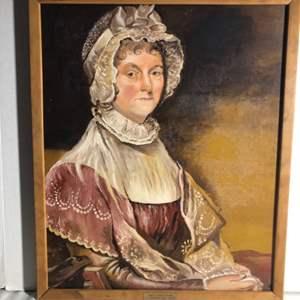 Lot#181- Original Vintage Oil Painting- Abigail Adams