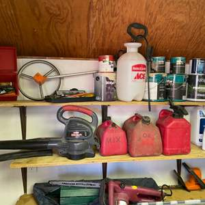 Lot # 301- Oregon electric chainsaw, gas cans, a Craftsman 220 MPH blower, Heavy Duty Tools!