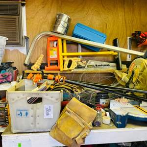 Lot # 307- Ryobi miter saw, Craftsman sockets, wire, sandpaper, chains, a hand saw, Top Shelf Contents- Including the Shelving