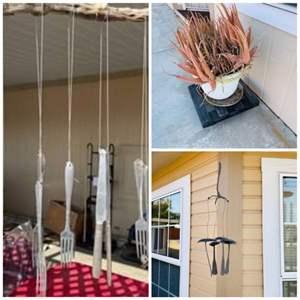 Lot # 329- Cute Garden Decor, Wind Chimes, Potted Plant