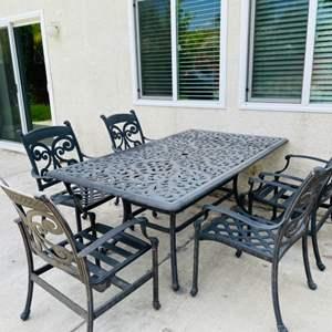 Lot # 13- 7-Piece outdoor patio set- Cast Aluminum- Heavy