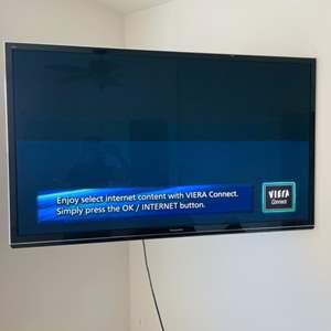 "Lot # 30- 55"" Panasonic plasma HD Smart T.V.- Great quality- Fairly new"