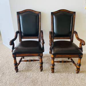 Lot # 3- Two Gorgeous Faux Leather and Wood Chairs