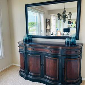 Lot # 4- Large Wooden Credenza and mirror