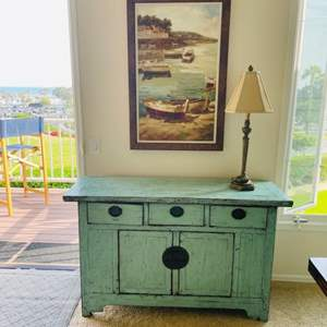 Lot # 8- Vintage Style Turquoise Accent Table, Oil Painting + More!