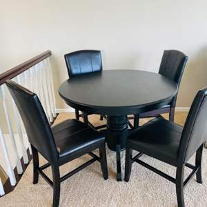 Lot # 12- Perfect Size, Dark Brown Wood Table + Chairs