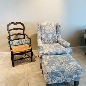 Lot # 17- Beautiful New Armchair, Ottoman + Ratan chair