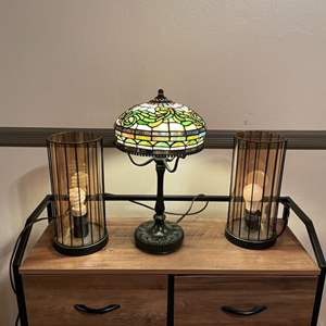 Lot # 19- Classic, Tiffany Reproduction Lamp With stylish industrial style glass lamps.