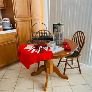 Lot # 9- Kitchen Table With Two Chairs + Extras