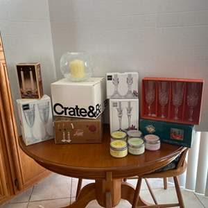 Auction Thumbnail for: Lot # 11- Mikasa/Crate & Barrel/ Crystal/ candles