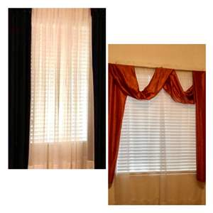 Lot # 30- Two sets of drapes- 2 Navy blue curtains, and orange drape with sheer panel