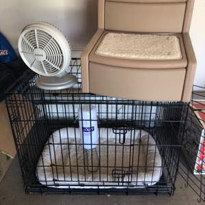 Lot # 70- Pet Cage, Step Stool and Fan