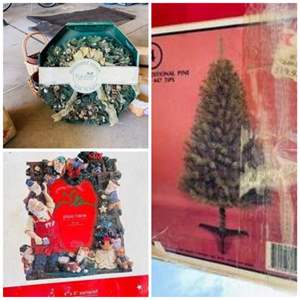 Auction Thumbnail for: Lot # 74-Christmas Wreath, Tree, Frames, baskets, 2 Bins, see all photos
