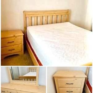 Lot # 77-Queen Sleigh Bed with Dresser, Mirror, Night Stand, and more!