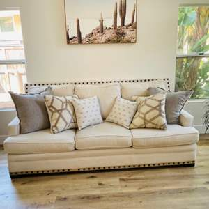 Lot # 1- Gorgeous Sofa with Pewter Colored Buttons + Throw Pillows