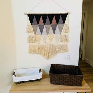Lot # 10- Macrame Wall Hanging + Other Decor