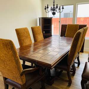Lot # 13- Tuscan-Style, Custom Made Table + Chairs
