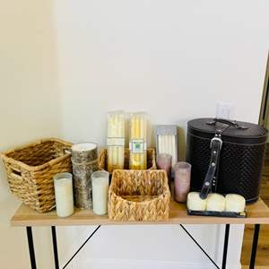 Lot # 16- Vintage Style Cosmetics Case, Candles+ Extras