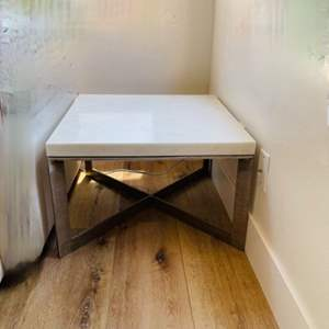 Lot # 32- Crate & Barrel Marble Top End Table With Silver Legs
