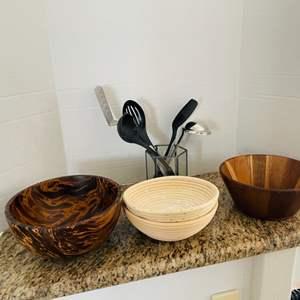 Lot # 38- Bohemian Bowls & Kitchen Utensils