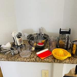 Lot # 42- KitchenAid Hand Mixer, Measuring Cups + More